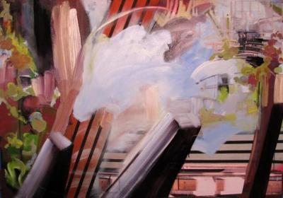 "Yvette Gellis, ""Transport #1"" - 2011 Öl, Acryl, Fotocollage auf Leinwand 111.76 x 162.56 cm"