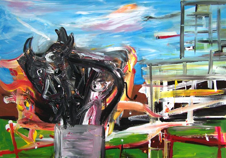 """Oliver Kropf, """"08"""" 70 x 100 cm, Acryl auf Baumwolle, 2019"""