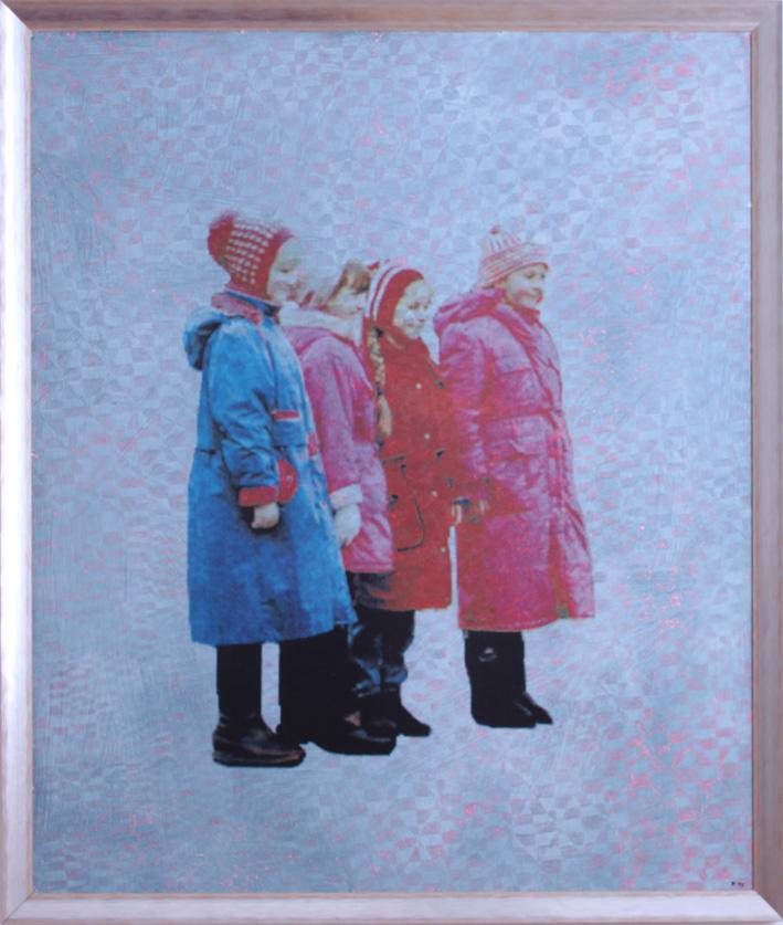 """Inge Kracht  """"Nachmittagslächeln"""" Mischtechnik auf Karton 120 x100 cm 1998"""