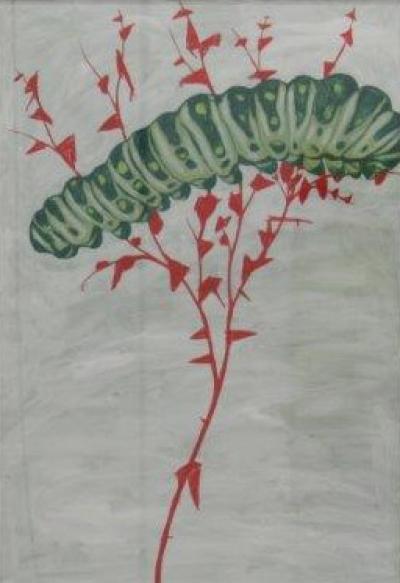 "Alois Mosbacher, ""frühe Lust 2"", Mischtechnik auf Papier, 100x70 cm, 2015"