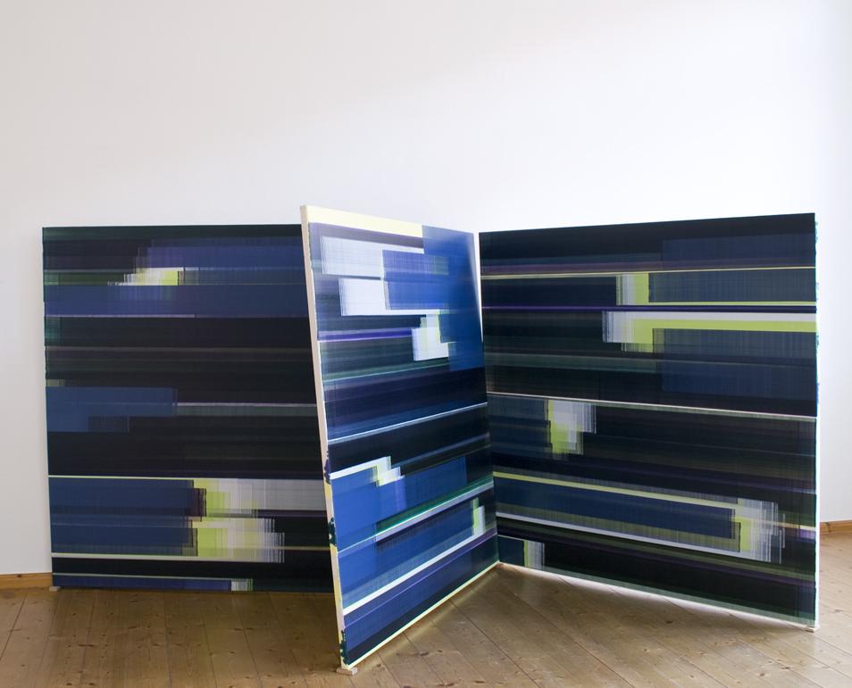 Elisabeth Sonneck, stellar #3 insitu, 2018, Öl auf Leinwand (2017), je 145 x 145 cm, aneinandergelehnt