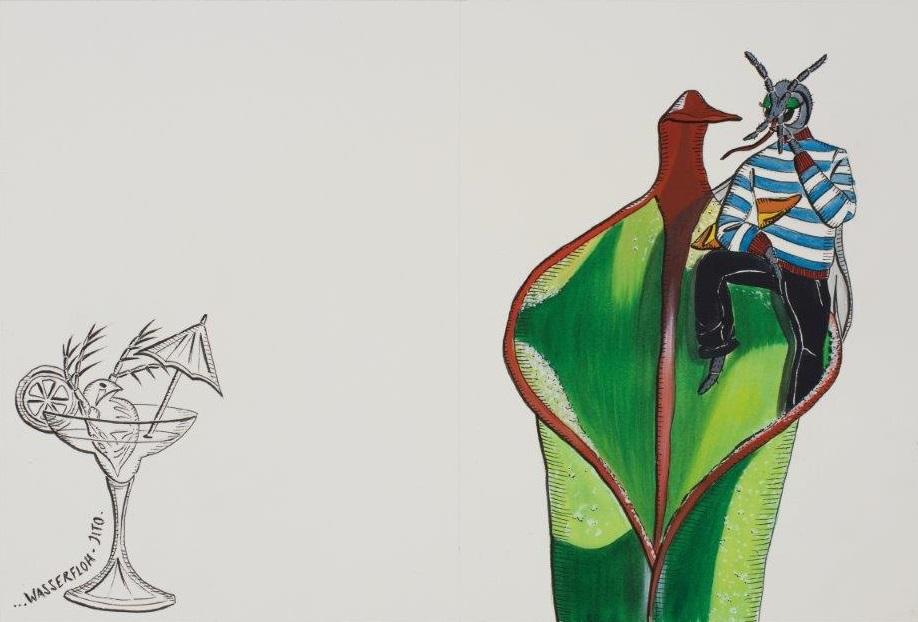 "Deborah Sengl, ""Fiffy + Maurice, Blatt 2, Aquarell, 28 x 42 cm"