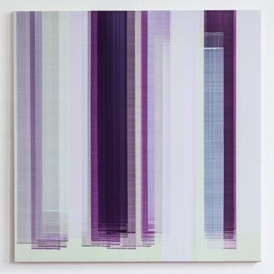 Elisabeth Sonneck, Mäander12 / 2, 2015, Öl auf Leinwand, 100 x 100 cm (insgesamt 3 Arbeiten)