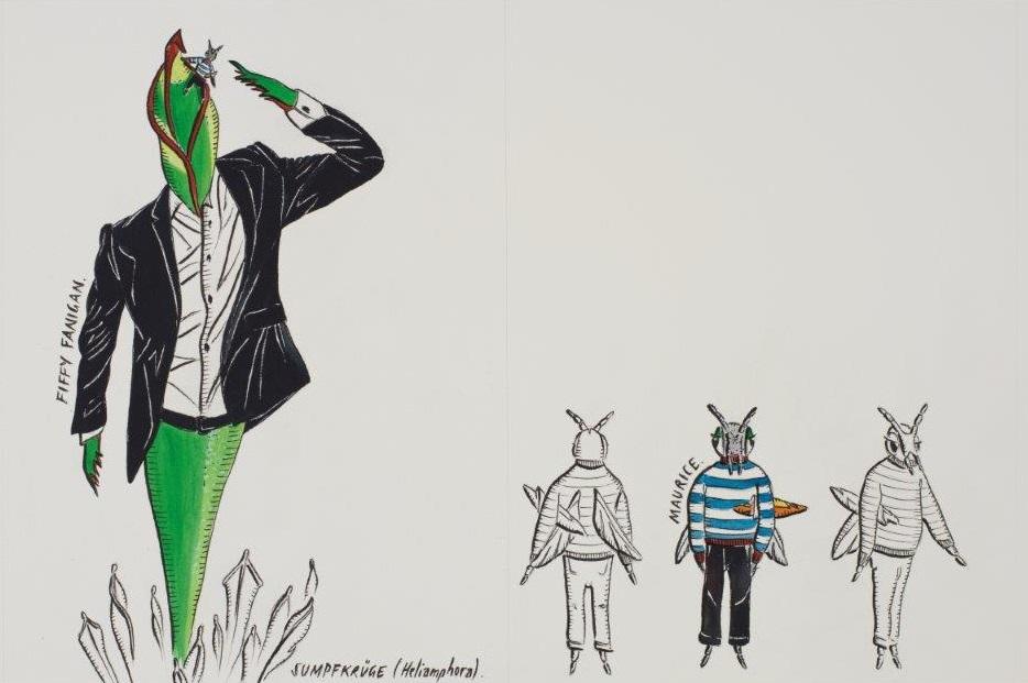 "Deborah Sengl, ""Fiffy + Maurice, Blatt 1, Aquarell, 28 x 42 cm"