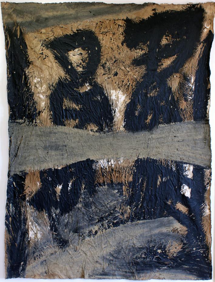 """Eduard Bousrd Bangerl  """"brig"""", 1997 Mischtechnik auf Molino 140x106cm"""