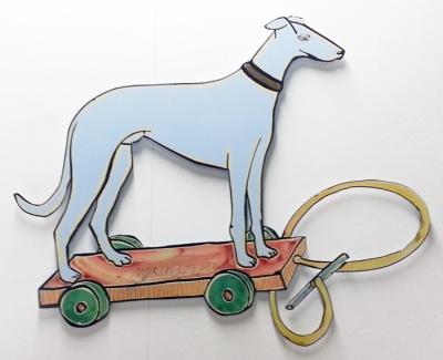 """Moritz Götze,  """"Bester Freund"""", 2012, Emaillienmalerei / Metall, 78 x 60 cm"""