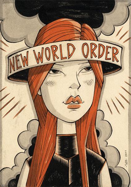 """Teer, """"New World Order"""", 20x28,5cm  Tusche auf Papier, auf Holz kaschiert, lackiert  2011"""