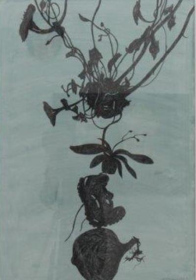"Alois Mosbacher, ""frühe Lust 1"", Mischtechnik auf Papier, 100x70 cm, 2015"