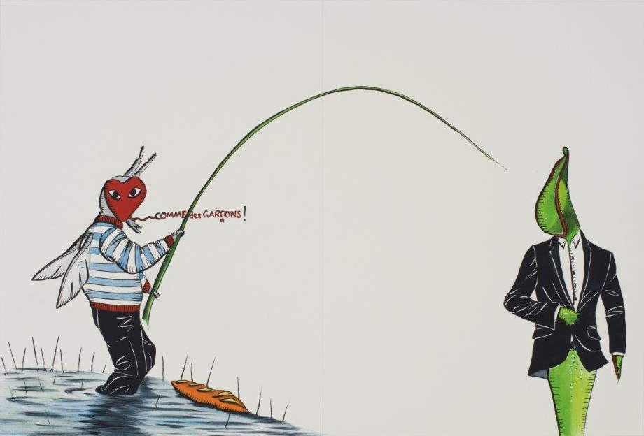 "Deborah Sengl, ""Fiffy + Maurice, Blatt 10, Aquarell, 28 x 42 cm"