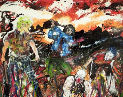 Oliver Kropf, Die Geburt der Komödie, Öl, Acryl auf Leinwand, 120 x 150 cm