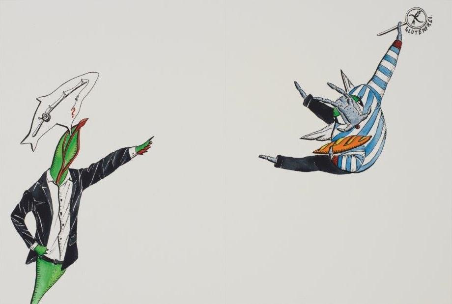 "Deborah Sengl, ""Fiffy + Maurice, Blatt 5, Aquarell, 28 x 42 cm"