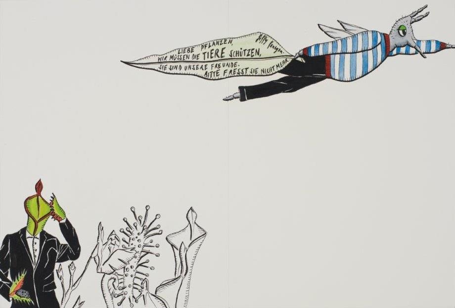 "Deborah Sengl, ""Fiffy + Maurice, Blatt 14, Aquarell, 28 x 42 cm"