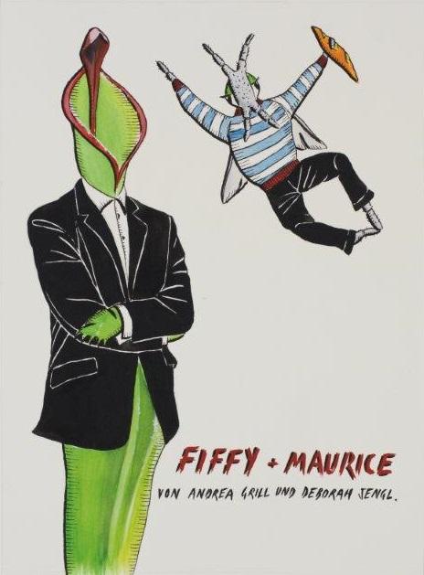 "Deborah Sengl, ""Fiffy + Maurice, Cover, Aquarell"