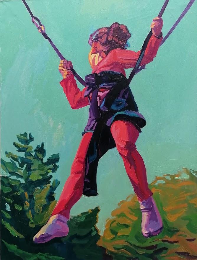 """Anton Petz, """"Schaukel"""", 2017, Öl auf Lw., 110 x 75 cm"""