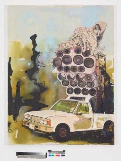 INDRA., O.T. (sounds), 170 cm x 130 cm, Mischtechnik auf Baumwolle, 2016