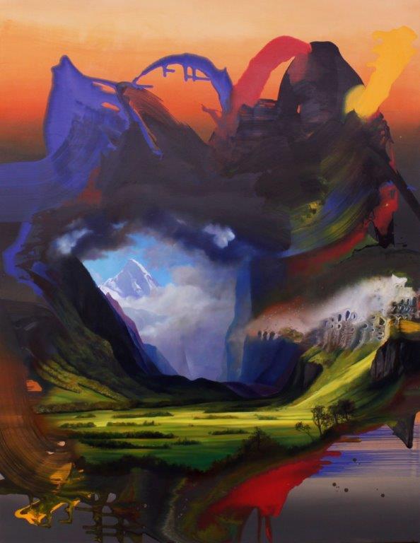 """Franziska Maderthaner, """"Kitsch in Abstraktion"""", 2015, 180 x 140 cm, Öl und Mischtechnik auf Leinen, verkauft😄"""