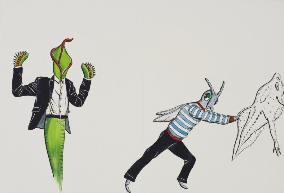"Deborah Sengl, ""Fiffy + Maurice, Blatt 12, Aquarell, 28 x 42 cm"