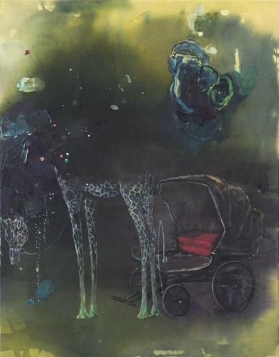 INDRA., O.T. (carriage), 90 cm x 70 cm, Mischtechnik auf Baumwolle, 2017