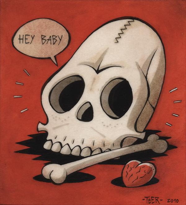 """Teer, """"Hey Baby"""" , 13x14,5cm  Tusche auf Papier, auf Holz kaschiert, lackiert  2010"""