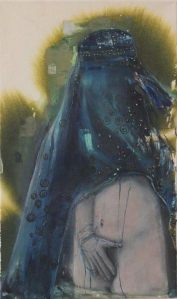 INDRA., Aphrodite (bathing), 60 cm x 36 cm, Mischtechnik auf Baumwolle, 2017