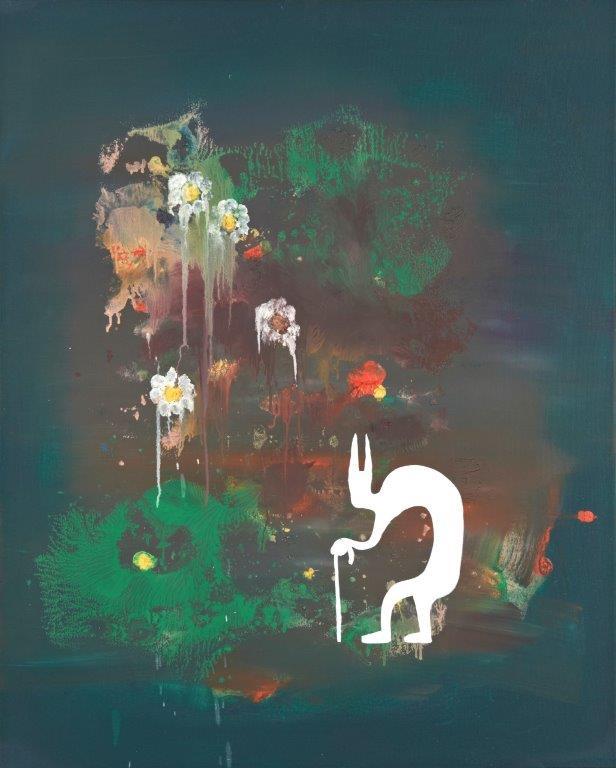 """Ronald Kodritsch, """"irgendwann, ja, die idee klingt jedenfalls verlockend"""", Öl auf Leinwand, 100 x 80 cm, 2019🔴"""