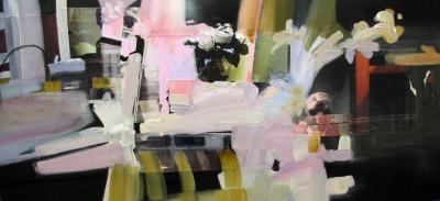 "Yvette Gellis, ""Vienna Window #1"" Öl, Acryl, Fotocollage auf Leinwand, 50x107 cm, 2011"