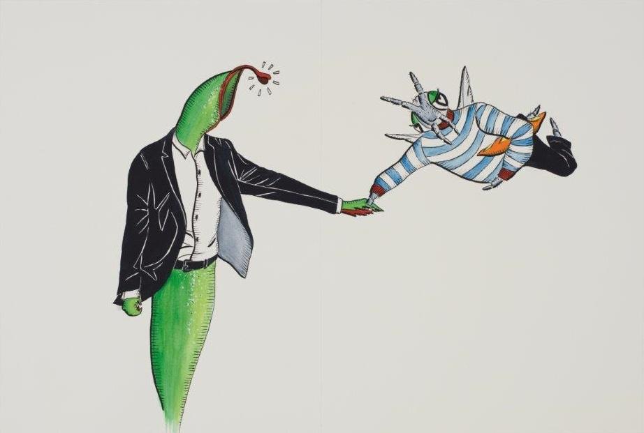 "Deborah Sengl, ""Fiffy + Maurice, Blatt 7, Aquarell, 28 x 42 cm"