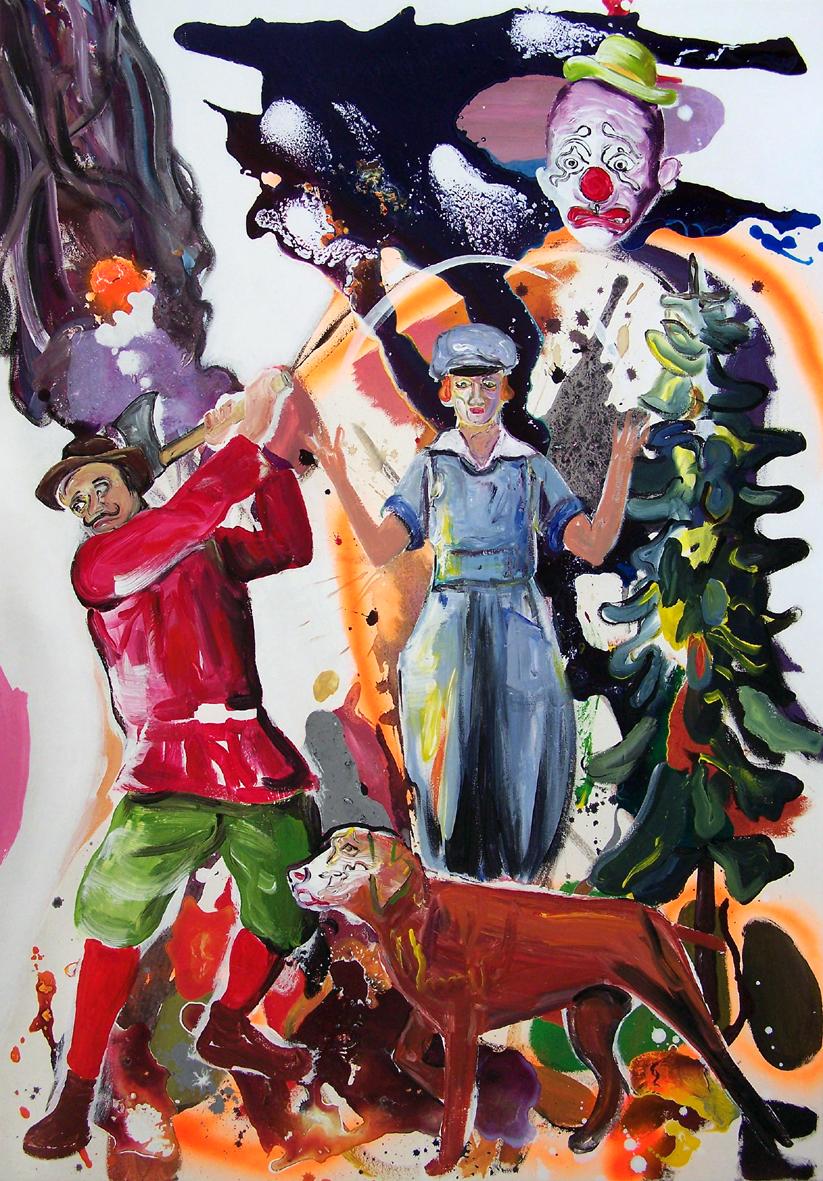 """Oliver Kropf, """"026"""" 100 x 70 cm, Acryl auf Baumwolle, 2020"""