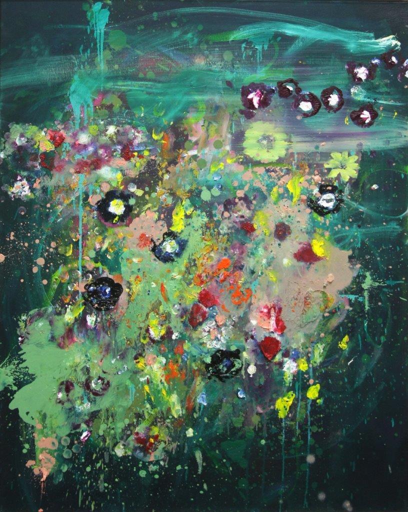 """Ronald Kodritsch, """"punky flowers, gruen"""", Öl auf Leinwand, 100 x 80 cm, 2019"""