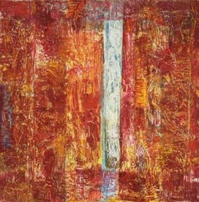 Christa Mayrhofer, O.T. - Holzschnitt, Öl auf Nepalbütten 150x150cm