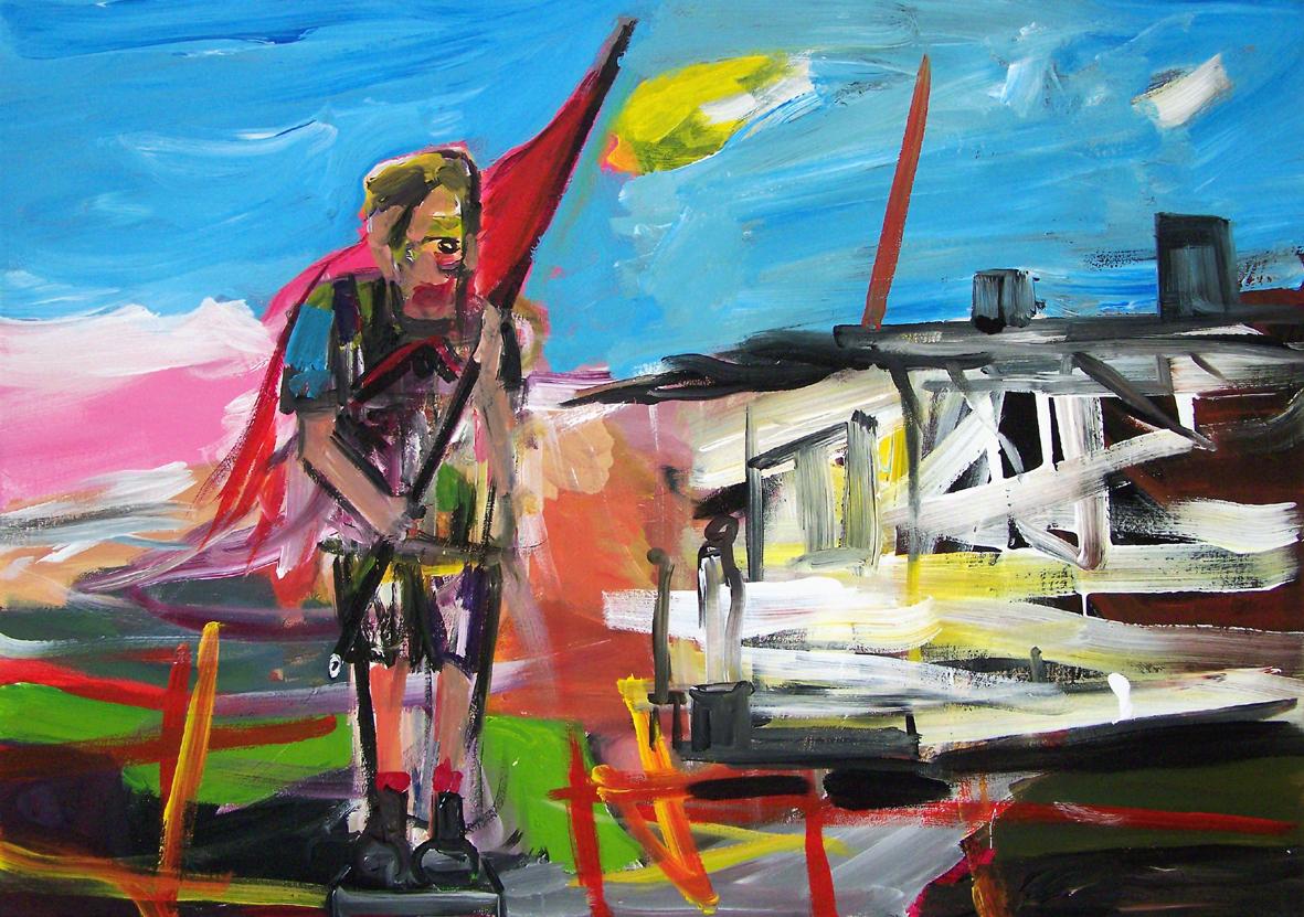 Oliver Kropf, DENKMAL 6,  70 x 100 cm, Acryl auf Baumwolle 2019