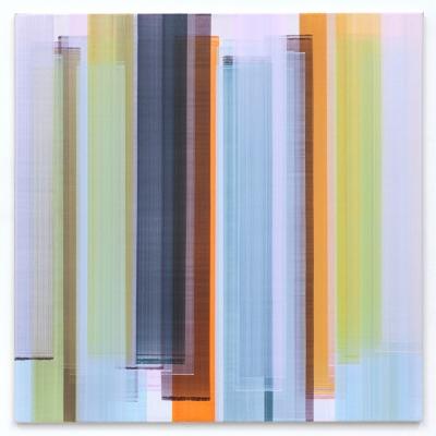Elisabeth Sonneck, Mäander11 / 1, 2014, Öl auf Leinwand, 100 x 100 cm (insgesamt 3 Arbeiten)