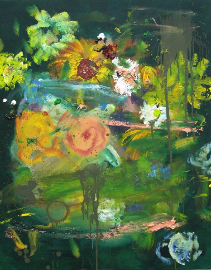 """Ronald Kodritsch, """"punky flowers, gruen"""", Öl auf Leinwand, 100 x 80 cm, 2019🔴"""