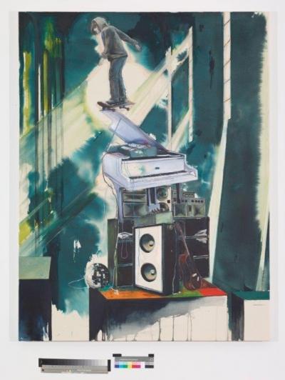 INDRA., O.T. (soundsystem), 170 cm x 130 cm, Mischtechnik auf Baumwolle, 2016