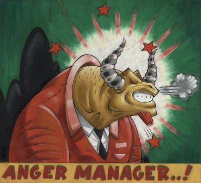 "TeER, ""Anger Manager"" , 40x40cm  Acryl und Öl auf Holz  2013"
