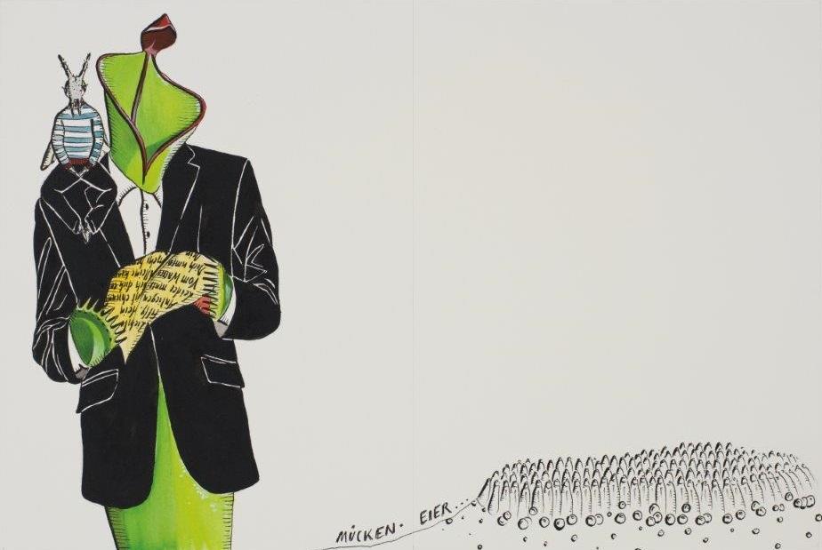 "Deborah Sengl, ""Fiffy + Maurice, Blatt 16, Aquarell, 28 x 42 cm"