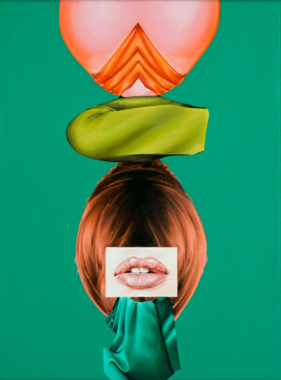 "Jennifer Nehrbass, ""Green Totem"", Öl auf Leinwnad, 41x30 cm, 2016"