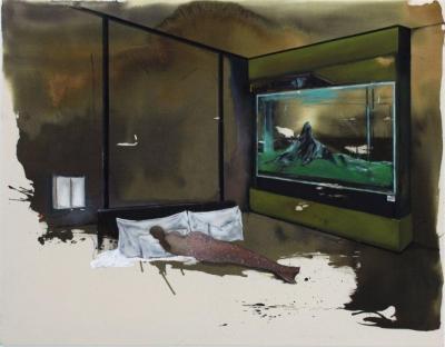 INDRA., In front of the bathroom (mermaid) - Mischtechnik auf Baumwolle, 130x160cm, 2013