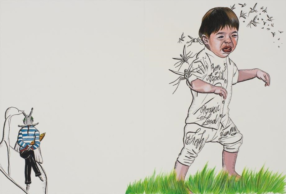 "Deborah Sengl, ""Fiffy + Maurice, Blatt 15, Aquarell, 28 x 42 cm"