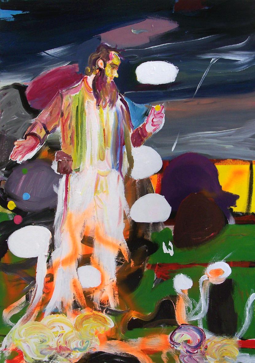 """Oliver Kropf, """"023"""" 100 x 70 cm, Acryl auf Baumwolle, 2020"""