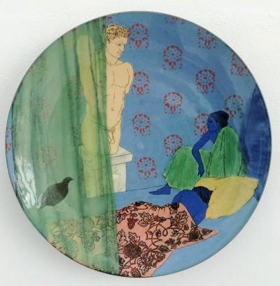 """Grita Götze, """"Wachtelhuhn"""", Keramik, Engobemalerei"""