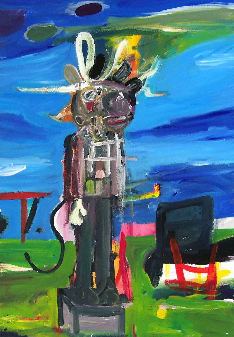 """Oliver Kropf, """"03"""" 100 x 70 cm, Acryl auf Baumwolle, 2019"""