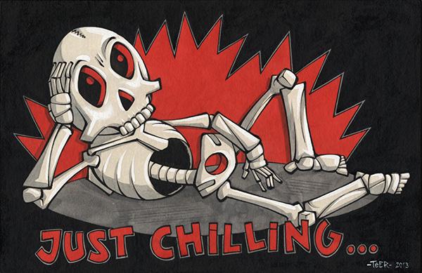 """Teer, """"Just chilling..."""", 33x21cm  Tusche auf Papier, auf Holz kaschiert, lackiert  2013"""