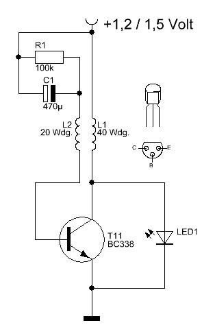 einfacher led blinker f r 1 5 volt elektronische basteleien. Black Bedroom Furniture Sets. Home Design Ideas