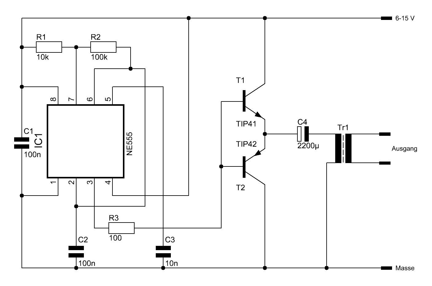 Einfacher Spannungswandler bzw. Wechselrichter mit dem NE555 ...