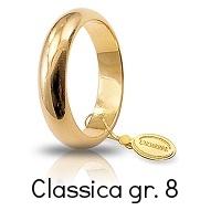 Fedi Nuziali Unoaerre Classica Oro Giallo Grammi 8 mm 4,6 Referenza: 80AFN1