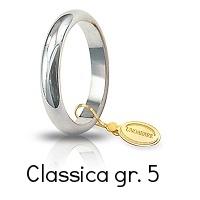 Fede Nuziale Unoaerre Classica Oro Bianco grammi 5 fascia stretta mm 3,6 Referenza: 50AFN1B