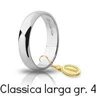 Fedi Nuziali Unoaerre Classica Oro Bianco 4  grammi 4,3 mm fascia larga Referenza: 40 AFN6B