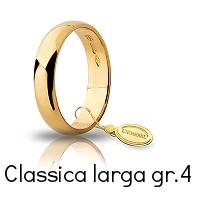 Fede Nuziale Unoaerre Classica Oro Giallo 4  grammi 4,3 mm fascia larga Referenza: 40 AFN6