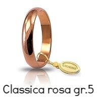 Fedi Nuziali Unoaerre Oro Rosa Classica grammi 5 mm 3,6 Referenza: 50AFN1R